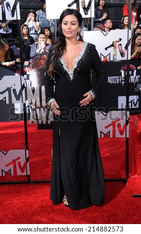"""LOS ANGELES - APR 13:  Jenni """"JWoww"""" Farley arrives to the 2014 MTV Movie Awards  on April 13, 2014 in Los Angeles, CA.                 - stock photo"""