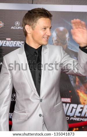 "LOS ANGELES - APR 11:  Jeremy Renner arrives at ""The Avengers"" Premiere at El Capitan Theater on April 11, 2012 in Los Angeles, CA - stock photo"