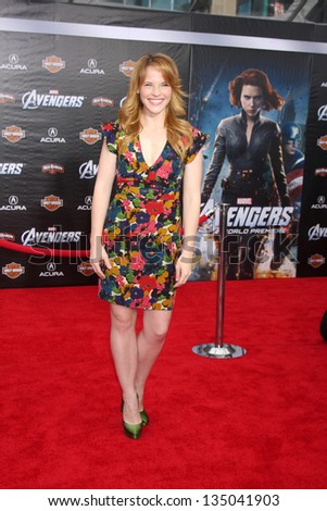 "LOS ANGELES - APR 11:  Katie Leclerc arrives at ""The Avengers"" Premiere at El Capitan Theater on April 11, 2012 in Los Angeles, CA - stock photo"