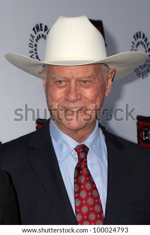"LOS ANGELES - APR 12:  Larry Hagman arrives at Warner Brothers ""Television: Out of the Box"" Exhibit Launch at Paley Center for Media on April 12, 2012 in Beverly Hills, CA - stock photo"