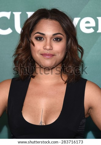 LOS ANGELES - APR 02:  Monica Raymund arrives to the NBCUniversal's Summer Press Day 2015  on April 02, 2015 in Hollywood, CA                 - stock photo
