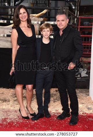 "LOS ANGELES - APR 06:  Nicelle Herrinton, Floyd Herrinton & T.G. Herrinton arrives to the ""The Longest Ride"" Los Angeles Premiere  on April 06, 2015 in Hollywood, CA                 - stock photo"