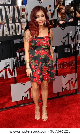 "LOS ANGELES - APR 13:  Nicole ""Snooki"" Polizzi arrives at the 2014 MTV MOVIE AWARDS   on April 13, 2014 in Los Angeles, CA                 - stock photo"