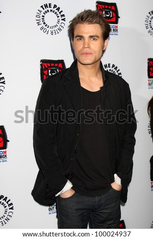 """LOS ANGELES - APR 12:  Paul Wesley arrives at Warner Brothers """"Television: Out of the Box"""" Exhibit Launch at Paley Center for Media on April 12, 2012 in Beverly Hills, CA - stock photo"""