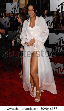 LOS ANGELES - APR 13:  Rihanna arrives at the 2014 MTV MOVIE AWARDS   on April 13, 2014 in Los Angeles, CA                 - stock photo