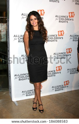 LOS ANGELES - APR 7:  Selena Gomez at the Alliance for Children's Rights' 22st Annual Dinner at Beverly Hilton Hotel on April 7, 2014 in Beverly Hills, CA - stock photo