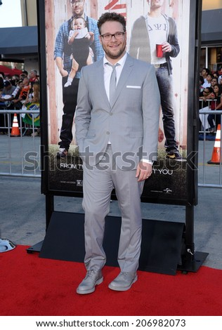 "LOS ANGELES - APR 13:  Seth Rogen arrives to the ""Neighbors"" World Premiere  on April 28, 2014 in Westwood, CA.                 - stock photo"