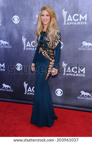 LOS ANGELES - APR 06:  Shakira arrives to the 49th Annual Academy of Country Music Awards   on April 06, 2014 in Las Vegas, NV.                 - stock photo