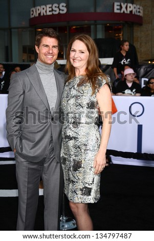 "LOS ANGELES - APR 10:  Tom Cruise, Melissa Leo arrives at the ""Oblivion"" Premiere at the Dolby Theater on April 10, 2013 in Los Angeles, CA - stock photo"