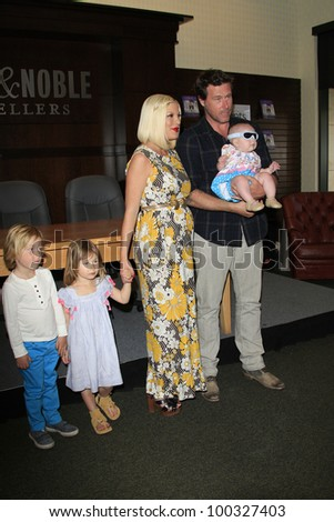 LOS ANGELES - APR 17: Tori Spelling, daughter Stella, son Liam, daughter Hattie, husband Dean McDermott at a signing for her book 'celebraTORI' on April 17, 2012 in Los Angeles, California - stock photo