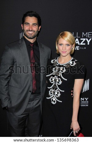 """LOS ANGELES - APR 16:  Tyler Hoechlin, Brittany Snow arrives at the """"Call Me Crazy: A Five Film"""" Premiere at the Pacific Design Center on April 16, 2013 in West Hollywood, CA - stock photo"""