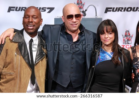 LOS ANGELES - APR 1:  ??Tyrese Gibson, Vin Diesel, Michelle Rodriguez at the Vin Diesel Hand and Foot Print Ceremony at the TCL Chinese Theater on April 1, 2015 in Los Angeles, CA - stock photo