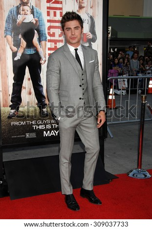 LOS ANGELES - APR 28:  Zac Efron arrives at the NEIGHBORS WORLD PREMIERE   on April 28, 2014 in Westwood, CA                 - stock photo