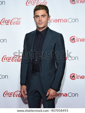 LOS ANGELES - APR 14:  Zac Efron arrives to the Cinema Con 2016: Awards Gala  on April 14, 2016 in Las Vegas, NV.                 - stock photo