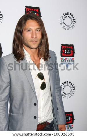 "LOS ANGELES - APR 12:  Zach McGowan arrives at Warner Brothers ""Television: Out of the Box"" Exhibit Launch at Paley Center for Media on April 12, 2012 in Beverly Hills, CA - stock photo"