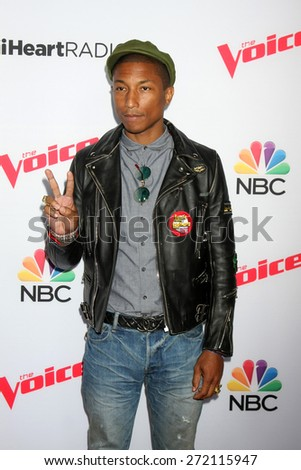 "LOS ANGELES - April 23:  Pharrell Williams at the ""The Voice"" Summer Break Party - Top 8 at the Pacific Design Center on April 23, 2015 in West Hollywood, CA - stock photo"
