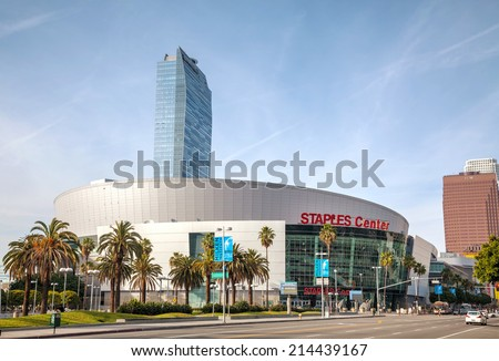 LOS ANGELES - APRIL 22: Staples Center building on April 22, 2014 in Los Angeles, California. Staples Center is a large multi-purpose sports arena in Downtown Los Angeles. - stock photo