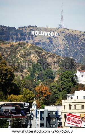 LOS ANGELES - APRIL 4: The world famous landmark Hollywood Sign on April 4, 2012 in Los Angeles, California. - stock photo