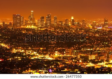 Los Angeles at Night, Urban City Lights and Skyline - stock photo