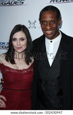 "LOS ANGELES - AUG 1:  Adrienne Wilkinson, Tim Russ at the ""Star Trek: Renegades"" Premiere at the Crest Theater on August 1, 2015 in Westwood, CA - stock photo"