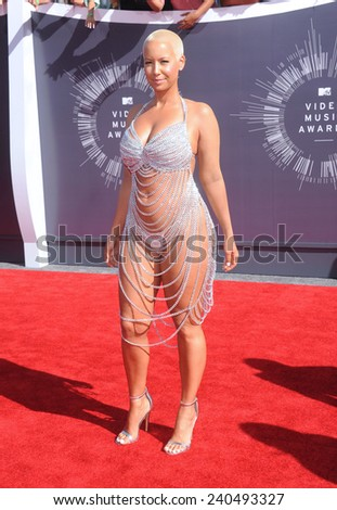 LOS ANGELES - AUG 24:  Amber Rose arrives to the 2014 Mtv Vidoe Music Awards on August 24, 2014 in Los Angeles, CA                 - stock photo