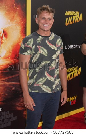 "LOS ANGELES - AUG 18:  Billy Magnussen at the ""American Ultra"" Premiere at the Theater at Ace Hotel on August 18, 2015 in Los Angeles, CA - stock photo"