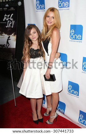 "LOS ANGELES - AUG 14:  Chiara Aurelia, Bella Thorne at the ""Big Sky"" Los Angeles Special Screening at the Arena on August 14, 2015 in Los Angeles, CA - stock photo"