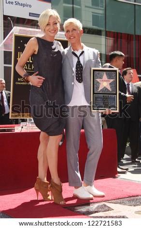 LOS ANGELES - AUG 03:  Ellen Degeneres & Portia De Rossi arriving to Walk of Fame - ELLEN DEGENERES  on August 03, 2012 in Hollywood, CA - stock photo