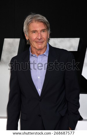 """LOS ANGELES - AUG 11:  Harrison Ford at the """"Expendables 3"""" Premiere at TCL Chinese Theater on August 11, 2014 in Los Angeles, CA - stock photo"""