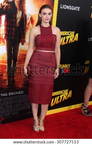 "LOS ANGELES - AUG 18:  Holland Roden at the ""American Ultra"" Premiere at the Theater at Ace Hotel on August 18, 2015 in Los Angeles, CA - stock photo"