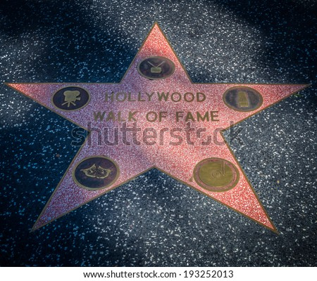 LOS ANGELES - AUG 23 Hollywood walk of fame star street on AUGUST 23, 2013 in Los Angeles, USA. - stock photo