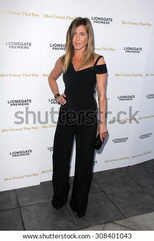"LOS ANGELES - AUG 19:  Jennifer Aniston at the ""She's Funny That Way"" Red Carpet Premiere at the Harmony Gold Theater on August 19, 2015 in Los Angeles, CA - stock photo"