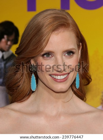 """LOS ANGELES - AUG 09:  JESSICA CHASTAIN arrives to the """"The Help"""" World Premiere  on August 09, 2011 in Beverly Hills, CA                 - stock photo"""