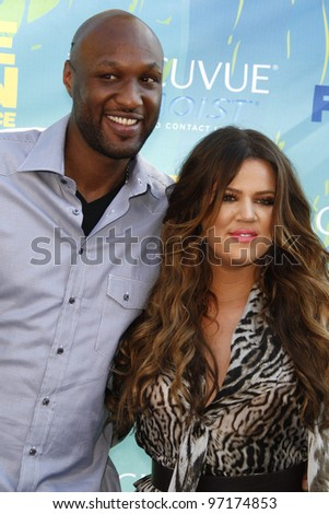LOS ANGELES - AUG 7: Khloe Kardashian; Lamar Odom arrives at the 2011 Teen Choice Awards held at Gibson Amphitheatre on August 7, 2011 in Los Angeles, California - stock photo