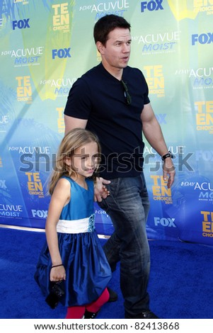 LOS ANGELES - AUG 7:  Mark Wahlberg arriving at the 2011 Teen Choice Awards at Gibson Amphitheatre on August 7, 2011 in Los Angeles, CA - stock photo