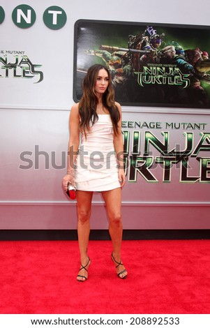 LOS ANGELES - AUG 3:  Megan Fox at the Teenage Mutant Ninja Turtles Premiere at the Village Theater on August 3, 2014 in Westwood, CA - stock photo