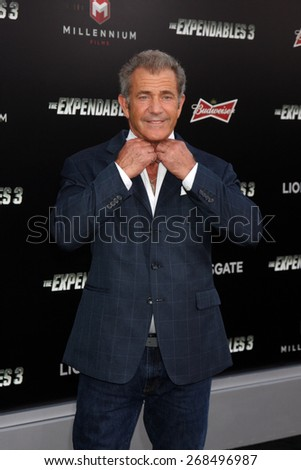 "LOS ANGELES - AUG 11:  Mel Gibson at the ""Expendables 3"" Premiere at TCL Chinese Theater on August 11, 2014 in Los Angeles, CA  - stock photo"