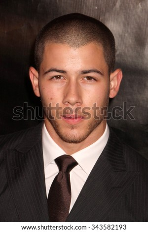 LOS ANGELES - AUG 13:  Nick Jonas at the HFPA Hosts Annual Grants Banquet - Arrivals at the Beverly Wilshire Hotel on August 13, 2015 in Beverly Hills, CA - stock photo