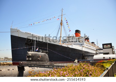LOS ANGELES - AUG 27: Queen Mary and Russian Scorpion homeported on August 27th, 2011 in Long Beach, Los Angeles, California, USA. - stock photo