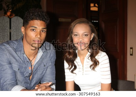 LOS ANGELES - AUG 14:  Rome Flynn, Reign Edwards at the Bold and Beautiful Fan Event Friday at the CBS Television City on August 14, 2015 in Los Angeles, CA - stock photo