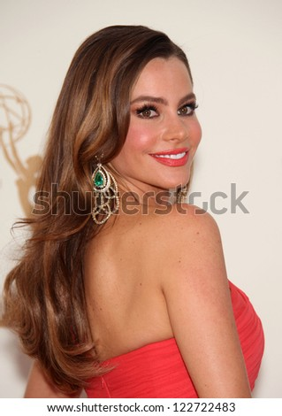LOS ANGELES - AUG 11:  SOFIA VERGARA arriving to Emmy Awards 2011  on August 11, 2012 in Los Angeles, CA - stock photo