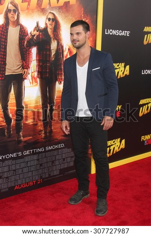 "LOS ANGELES - AUG 18:  Taylor Lautner at the ""American Ultra"" Premiere at the Theater at Ace Hotel on August 18, 2015 in Los Angeles, CA - stock photo"