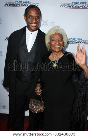 "LOS ANGELES - AUG 1:  Tim Russ, Nichelle Nichols at the ""Star Trek: Renegades"" Premiere at the Crest Theater on August 1, 2015 in Westwood, CA - stock photo"