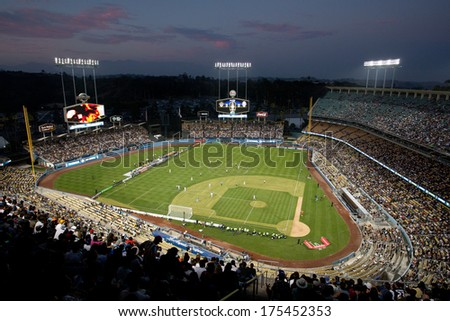 LOS ANGELES - AUGUST 3: A general view of Dodger Stadium during the 2013 Guinness International Champions Cup on Aug 3, 2013 at Dodger Stadium. - stock photo