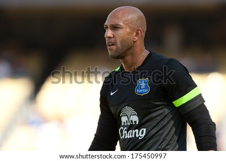 LOS ANGELES - AUGUST 3: Everton GK Tim Howard during the 2013 Guinness International Champions Cup game between Everton and Real Madrid on Aug 3, 2013 at Dodger Stadium. - stock photo