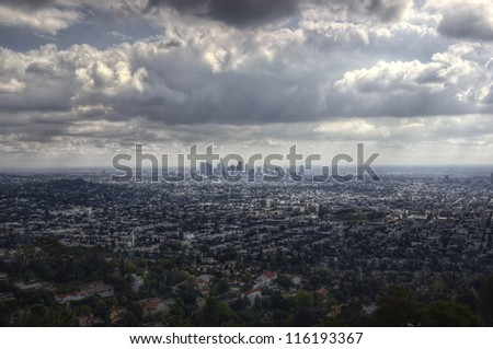 Los Angeles basin from above - stock photo