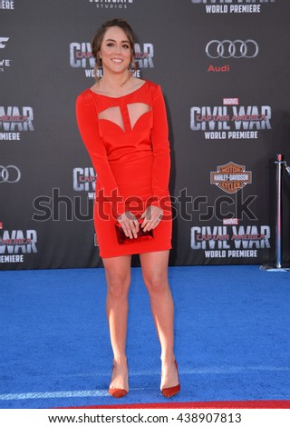 """LOS ANGELES, CA. April 12, 2016: Actress Chloe Bennet at the world premiere of """"Captain America: Civil War"""" at the Dolby Theatre, Hollywood. - stock photo"""