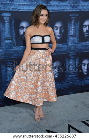 LOS ANGELES, CA. April 10, 2016: Actress Maisie Williams at the season 6 premiere of Game of Thrones at the TCL Chinese Theatre, Hollywood. - stock photo