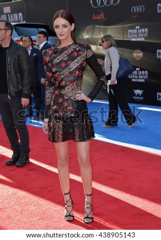 """LOS ANGELES, CA. April 12, 2016: Actress/model Lydia Hearst at the world premiere of """"Captain America: Civil War"""" at the Dolby Theatre, Hollywood. - stock photo"""