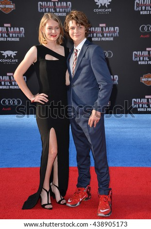 "LOS ANGELES, CA. April 12, 2016: Actress Ryan Simpkins & actor brother Ty Simpkins at the world premiere of ""Captain America: Civil War"" at the Dolby Theatre, Hollywood.